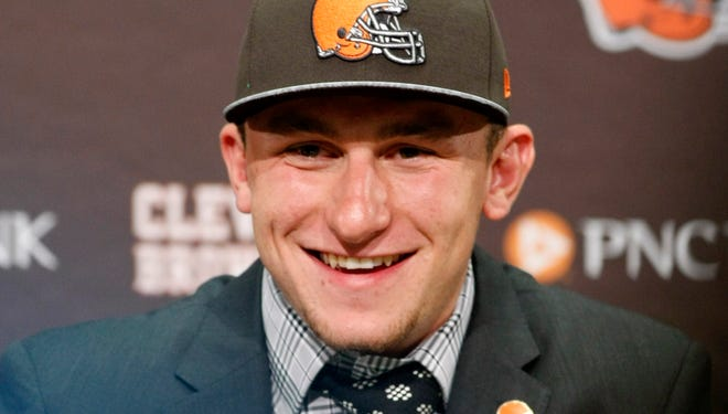 Cleveland Browns first-round draft pick Johnny Manziel speaks during a press conference at the Cleveland Browns on May 9, 2014.