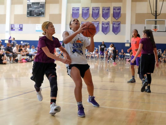 "Hundreds participate in the first annual ""Ballin' For Desi"" basketball fundraiser on Saturday, July 30, 2016 at Shadow Hills High School in Indio. The event raised money for the Desi Strong Foundation. Desi died after a 2 year fight against Stage IV high-risk neuroblastoma."