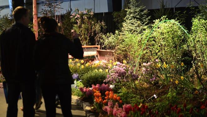 """Vermont Flower Show attendees on Sunday, March 5, 2017, gaze at and photograph plants displayed as part of the """"Neverland"""" grand display at the Champlain Valley Expostion."""