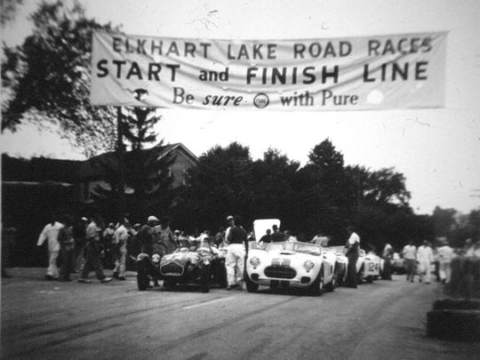 "The first road race in 1950, shown here at the start, was considered more of a ""trial run"" for sports car clubs."