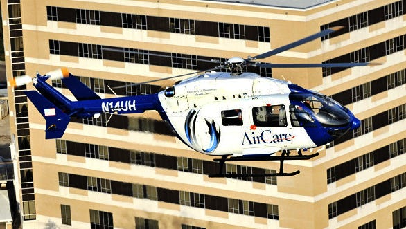 Air Care is shown in flight.