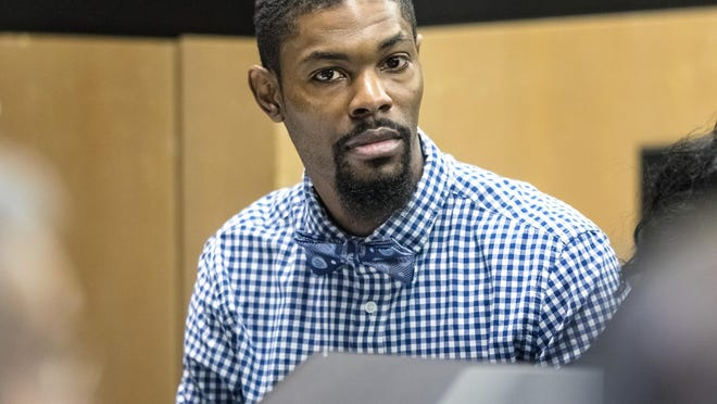 Daron Harrell sits in court Tuesday, March 3, 2020 as potential jurors are questioned for his first degree murder trial in connection with the fatal shooting 36-year-old Kevin Lamar Stevens. Stevens was found shot in a crashed car on the 700 block of Fifth Street in West Palm Beach in May, 2018.
