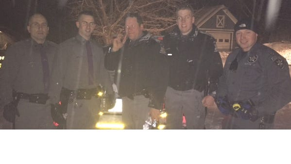 Law enforcement officials that aided in the search. Left to right, Troopers Matthew Card, Christopher Buhler, Matthew Terwilliger, Brian Smith and Deputy Kyle Frano