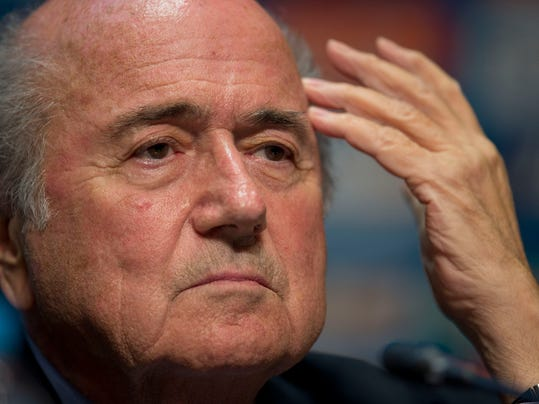 FIFA President Sepp Blatter looks on during a press conference where he talked about the organization and infrastructure of the upcoming World Cup, in Sao Paulo, Brazil, Thursday, June 5, 2014. The World Cup soccer tournament starts on 12 June. (AP Photo/Andre Penner)