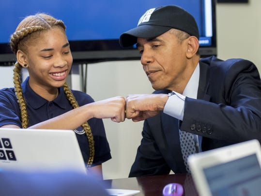 BESTPIX President Obama Meets With Students Participating In An Hour Of Code Event