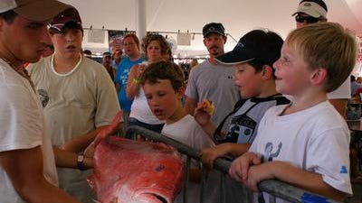 Rodeo volunteer Brent Rester of Kiln gives (from left) Dylan Wescovich, 10, and Ryan Wescovich, 6, both of Ocean Springs, and Nikolas Hilton, 5, of Biloxi a close up look at a red snapper during a Mississippi Deep Sea Fishing Rodeo in Biloxi. The 66th rodeo starts on Thursday.