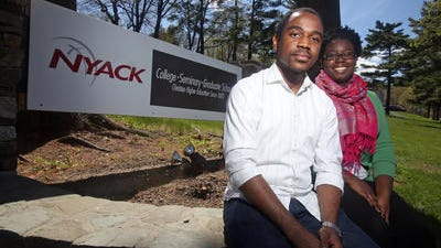 """Claude-Alix """"Fabien """"Crevecoeur, 28, and Lindza Lubin, 22, both came to this country from their native Haiti after the devastating 2010 earthquake. Crevecoeur will graduate from Nyack College later this month. Lubin will graduate this coming December. They both plan to return to Haiti."""