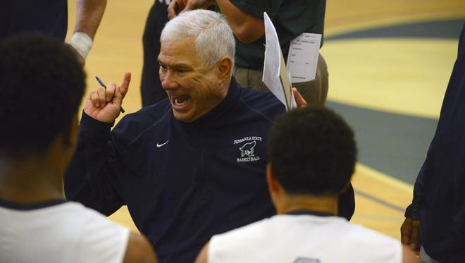 Pensacola State men's basketball coach Pete Pena and his team begin conference play Saturday vs. No. 11 Tallahassee Community College (15-1) with its 12 game win streak.