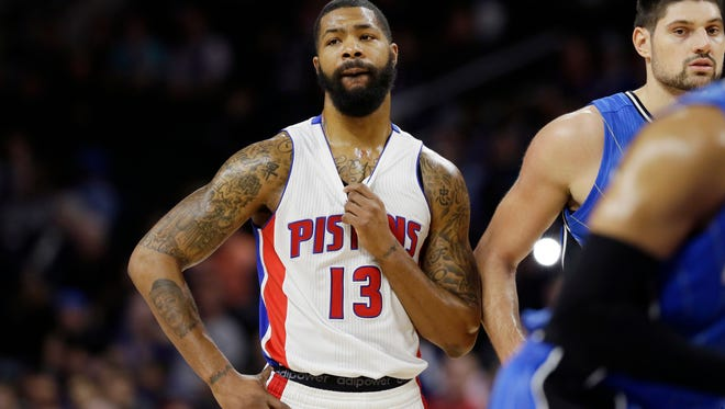 Pistons forward Marcus Morris on the court during a time-out during the second half of the Pistons' 115-89 win over the Magic Monday at the Palace.