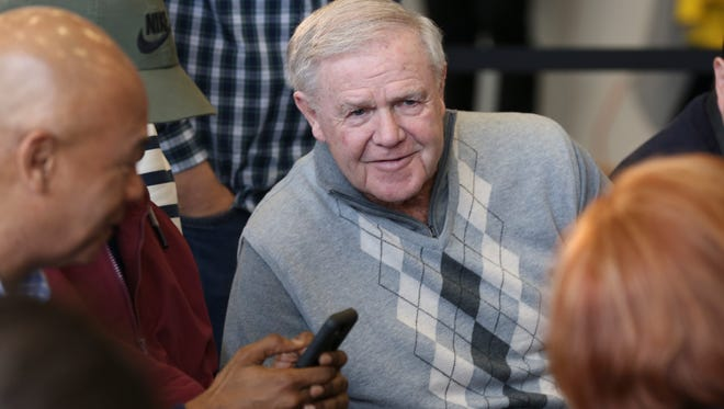 Former Louisville basketball coach Denny Crum chatted with attendees just before Louisville announced the new basketball coach at the Yum Center.    Mar. 28, 2018