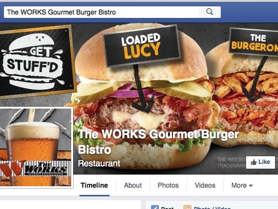 The Facebook page from The WORKS Gourmet Burger Bistro.