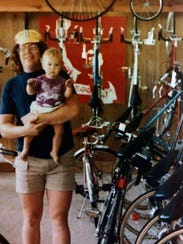 Chris Kegel with his son Noel in the early 1980s at