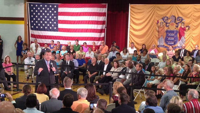 Gov. Chris Christie speaks at a town hall meeting in Haddon Heights.