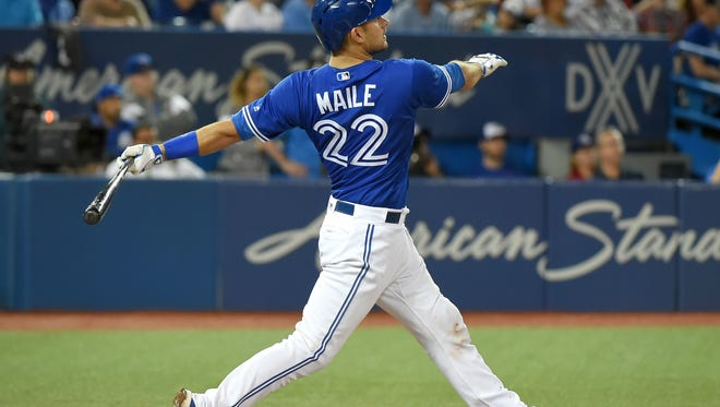 Luke Maile hits a home run in 2017/USA Today Sports