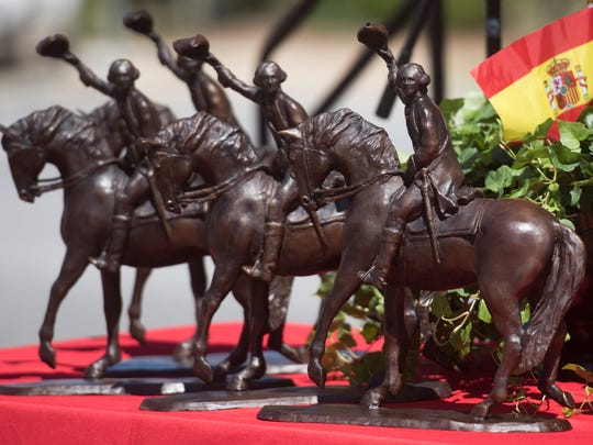 Replicas of the Bernardo de Galvez statue created by Pensacola artist Bob Rasmussen are displayed May 8 at the groundbreaking for the monument in downtown Pensacola.