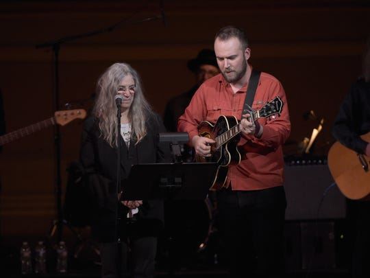 Patti Smith and son Jackson Smith perform at the Tibet House US 30th Anniversary Benefit Concert & Gala to celebrate Philip Glass's 80th Birthday at Carnegie Hall on March 16, 2017, in New York.