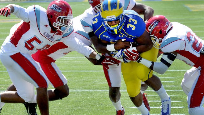 Delaware running back Jalen Randolph ran for 118 yards in the Blue Hens' victory over Delaware State on Sunday.