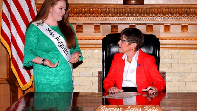 Sierra Marie Bonn, left, first obtained a Governor's Proclamation from Governor Kelly, right, in 2019 while serving as a Candidate in the Miss America Organization as Miss Augusta.