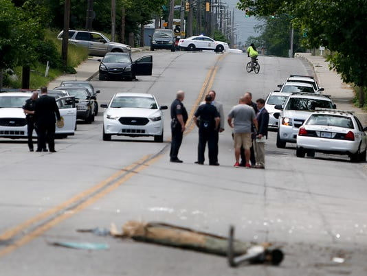 Scene of an accident after an IMPD police pursuit, located near East 33rd St. and North Sherman Dr.