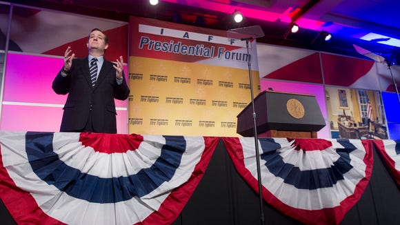 Sen. Ted Cruz, R-Texas speaks at the International Association of Firefighters (IAFF) Legislative Conference and Presidential Forum in Washington, Tuesday, March 10, 2015. (AP Photo/Pablo Martinez Monsivais)