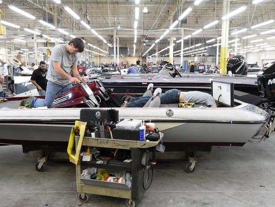 Ranger Boats employees work at the Flippin, Arkansas,