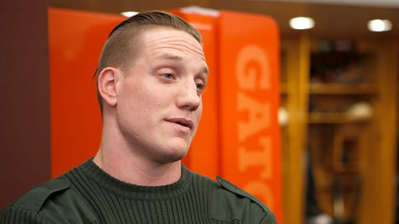 The Cincinnati Bengals introduced A.J. Hawk, after the former Ohio State and Green Bay linebacker signed with the team Wednesday, March 11.