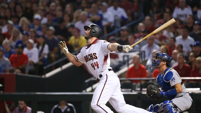 Diamondbacks Paul Goldschmidt (44) hits a fly-out against the Dodgers during the first inning during Game 3 of the NLDS at Chase Field on October 9, 2017.