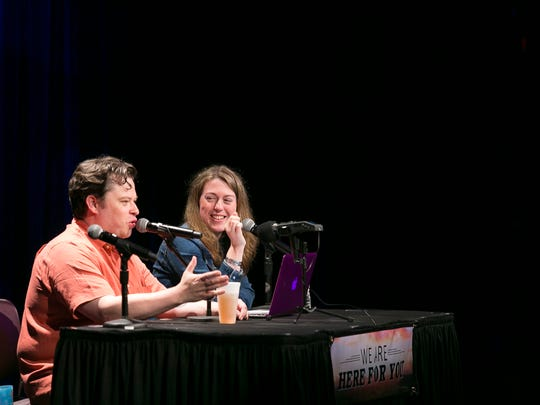 """Justin (left) and Sydnee McElroy, co-hosts of the """"Sawbones"""" podcast."""