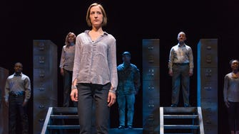"""Kat Wodtke (front) and the cast of Forward Theater's """"Learning to Stay,"""" which James DeVita adapted from Erin Celello's novel."""