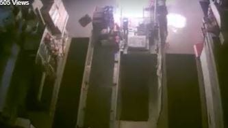 Surveillance footage of Meat Stop break-in and arson