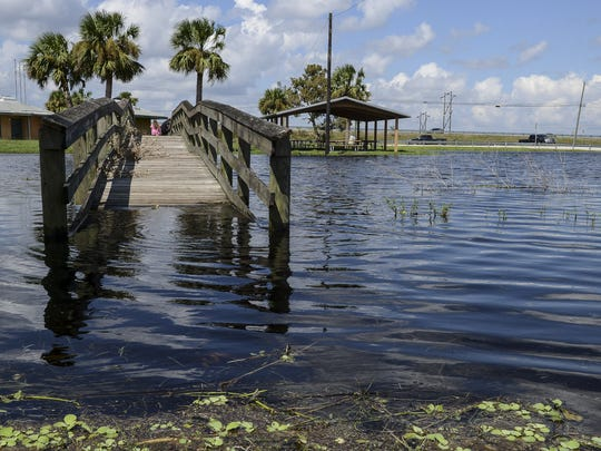Water levels are way up in the St. Johns River near Cocoa.  Here at James G. Bourbeau Memorial Park several boat ramps are now closed due to high water.