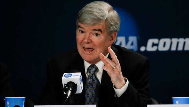 NCAA president Mark Emmert speaks at a press conference before the national championship game.