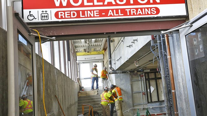 The Newport Ave. entrance to the station.  The Wollaston MBTA Red Line station nears completion and opening next month. MBTA General Manager Steve Poftak and staff walk through the station on Wednesday, July 24, 2019  Greg Derr/The Patriot Ledger