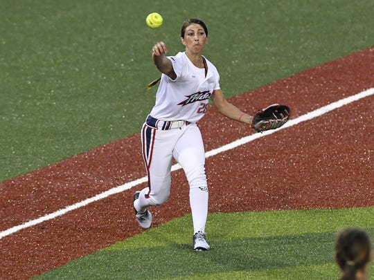 Andrea Duran of the USSSA Pride throws out a baserunner during their season opening game at Space Coast Stadium