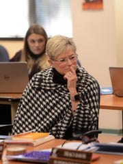 WCSD school board President Katy Simon Holland at a special work session of the board on Feb. 2, 2018.