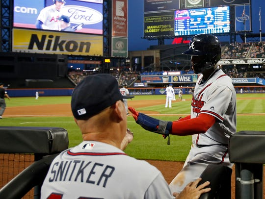 Atlanta Braves left fielder Ronald Acuna Jr. (13) celebrates