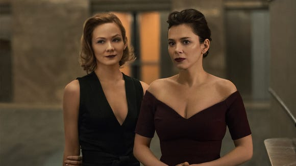 Louisa Krause, left, and Anna Friel in a scene from