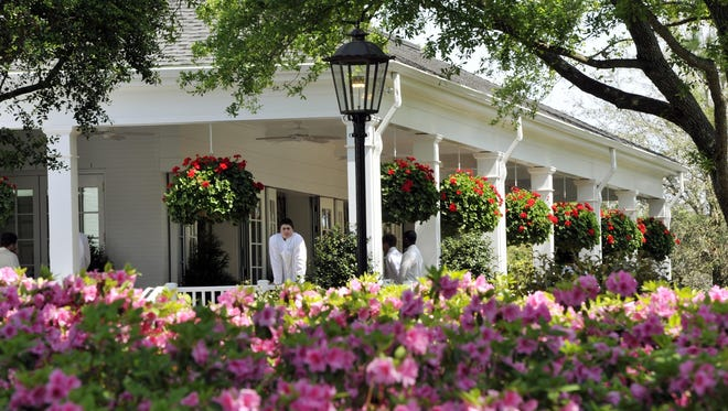 A general view of azaleas in bloom in front of the Founder's Room during the final round of the 2014 The Masters golf tournament at Augusta National Golf Club.