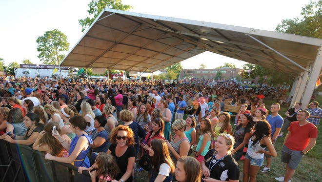 Fans gather at the Indiana State Fair Free Stage, where concerts are scheduled Aug. 5-21 this year.