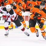 Michael Raffl and the Flyers are hoping to get back on track against Adam Henrique and the Devils.