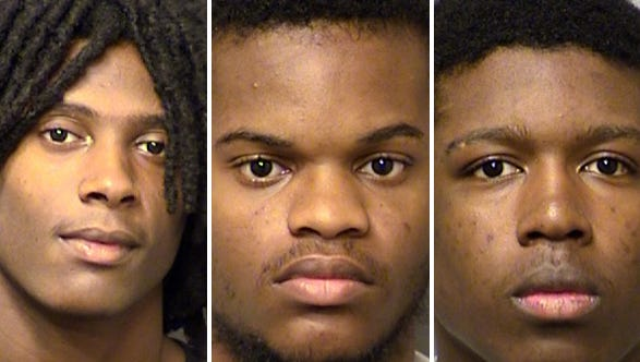 (From left) Kaylend Gilbert, Jalen Heffner and Terrence Richardson, all 17-year-olds, face murder charges  in adult court in the slaying in Indianapolis on Oct. 4, 2015, of 17-year-old Steven Kendall II, Indianapolis Metropolitan Police say.