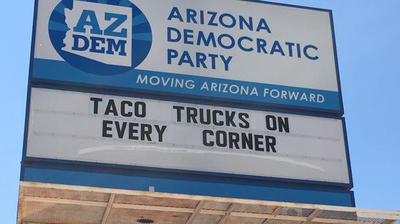 The Arizona Democratic Party updated its sign on Friday