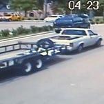 Surveillance image of trailer being stolen