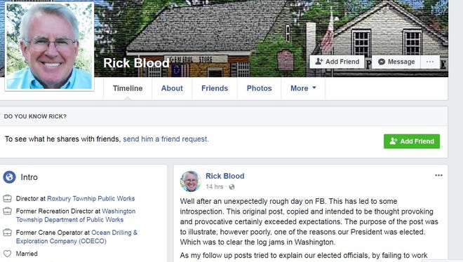 Mendham Township Deputy Mayor Rick Blood came under fire after he shared a Facebook post comparing immigrants to raccoons.