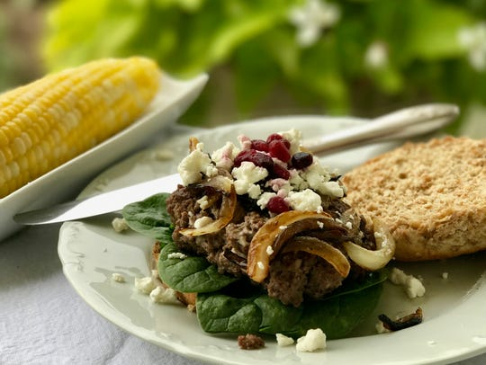 Enjoy Pomegranate Goat Cheese Bison Burgers with late