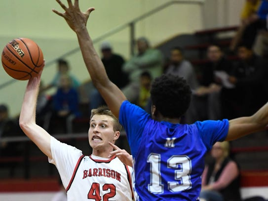 Harrison's Rilee Epley (42) continues his assault on the City's career scoring list. He is now 16 points away from moving to No. 10.