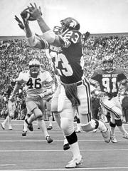 Michigan State wide receiver Kirk Gibson catches a