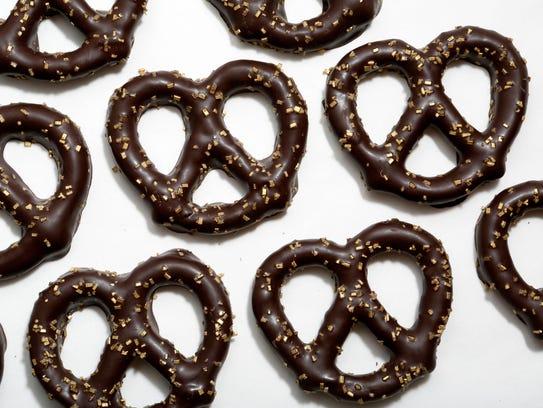 Chocolate covered pretzels by Posh Pretzels in Tarrytown
