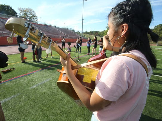 Yvette Martinez practices with the band at White Plains