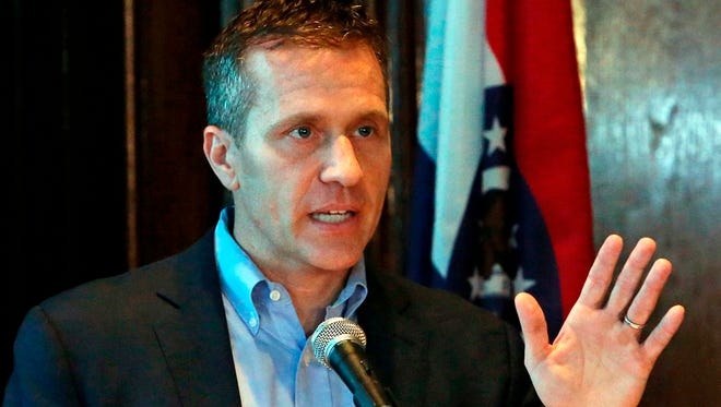 Missouri Gov. Eric Greitens speaks at a news conference April 11, 2018, in Jefferson City, Mo., about allegations related to his extramarital affair with his hairdresser.